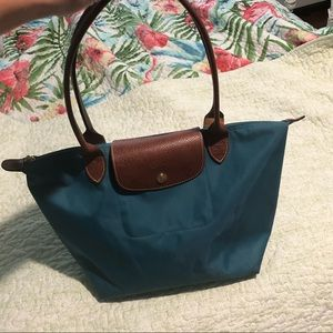 Women's Blue Le Pliage Medium Shoulder Tote